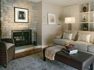 transitional interior design with new fireplace