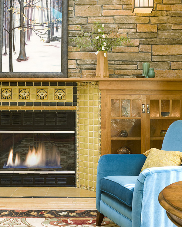 Fireplaces boston design and interiors inc for Arts and crafts fireplace tile