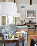 A beautiful table in the living room of a transitional home