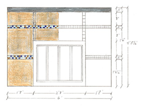 A concept sketch of a contemporary fireplace using porcelain and glass mosaic tile by Boston Design and Interiors, Inc.