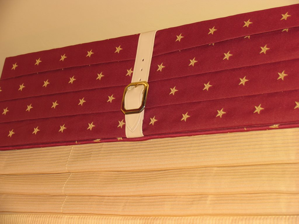Cornice Fabric with Star Motif and and Harness Belts custom dyed to match the stars
