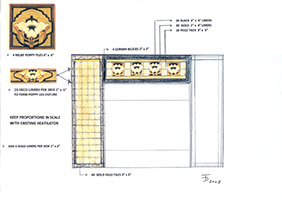 A concept sketch of fireplace using Arts & Crafts tiling by Boston Design and Interiors, Inc.