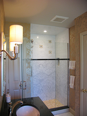 Figured Marble Shower Wall