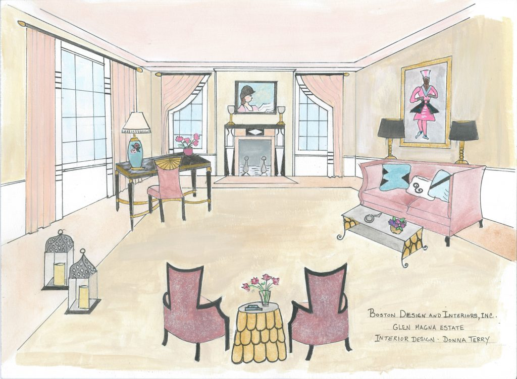 Drawing Room Rendering by Donna Terry