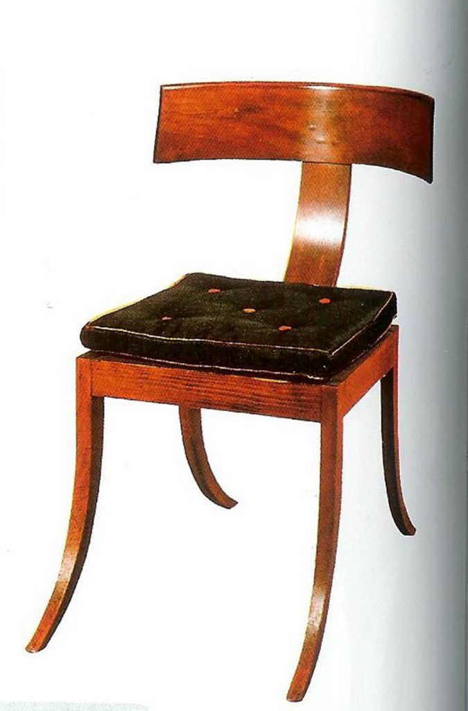 Klismos chair with flattened splat made by Hermann Freund circa 1835.